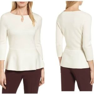 NEW Boss Hugo Boss Fylle Wool Peplum Top